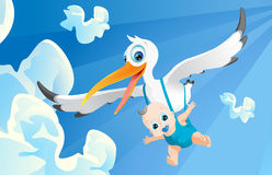 Baby incoming. Stork carrying baby,baby airborne, blue sky Royalty Free Stock Image