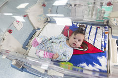Baby through an incubator from above Royalty Free Stock Photo