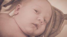 Baby infant face after bath. Baby infant face close up portrait stock image
