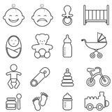Baby, infant, newborn and birth line icons Stock Photo