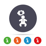 Baby infant sign icon. Toddler boy symbol. Baby infant think about gift box sign icon. Toddler boy in pajamas or crawlers body symbol. Round colourful buttons Stock Photography
