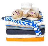 Baby infant stack clothes isolated on white. Royalty Free Stock Image
