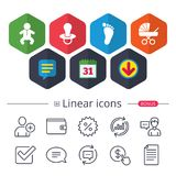 Baby infants icons. Buggy and dummy symbols. Stock Image