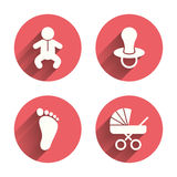 Baby infants icons. Buggy and dummy symbols. Baby infants icons. Toddler boy with diapers symbol. Buggy and dummy signs. Child pacifier and pram stroller. Child Stock Photography