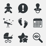 Baby infants icons. Buggy and dummy symbols. Stock Photo