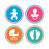 Baby infants icons. Buggy and dummy symbols. Royalty Free Stock Photography