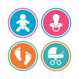 Baby infants icons. Buggy and dummy symbols. Stock Photos