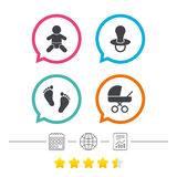 Baby infants icons. Buggy and dummy symbols. Royalty Free Stock Image