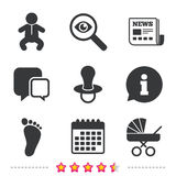 Baby infants icons. Buggy and dummy symbols. Stock Photography