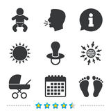 Baby infants icons. Buggy and dummy symbols. Royalty Free Stock Photo