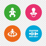 Baby infants icons. Fasten seat belt symbols. Royalty Free Stock Photo