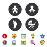 Baby infants icons. Buggy and dummy symbols. Royalty Free Stock Images