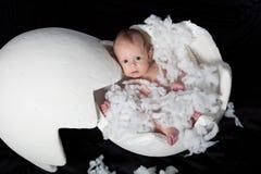Baby Inside of an Egg. Egg made from Styrofoam reveals cute baby inside Stock Images