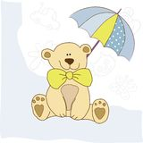 Baby invitation with teddy bear Stock Image