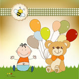 Baby invitation with teddy bear and balloons Stock Photo