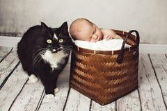 Baby Is Sleeping Near A Big Black Cat Stock Photo