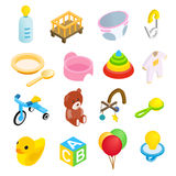 Baby isometric 3d icon set Stock Photos