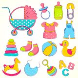 Baby Item. Illustration of different item for baby including toys and dress Royalty Free Stock Images