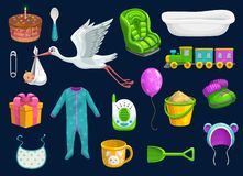 Free Baby Item Icons. Toys, Cup, Spoon, Bib And Stork Royalty Free Stock Image - 162332036
