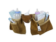 Baby Items Filling Leather Tool Belt Royalty Free Stock Images