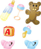Baby items illustrations Royalty Free Stock Photos