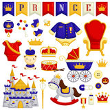Baby Items in Prince Theme. A vector set of baby prince items stock illustration