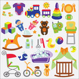 Baby items set collection.Baby shower icons. A set of cute items for little Baby.Baby cartoon icons for girl and boys.Baby shower  design elements Royalty Free Stock Photo