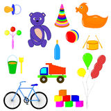 Baby items and toys for children of different ages. Educational toys for children of different ages Royalty Free Stock Image