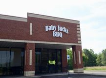 Baby Jack`s BBQ, Arlington, TN. Baby Jack`s BBQ restaurant in Arlington, TN sells barbeque chicken, ribs, pork shoulder, pulled pork and brisket royalty free stock photos
