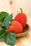 Baby Jackfruit on basket Royalty Free Stock Photography