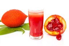 Baby Jackfruit and juice of gac on white background. Stock Images