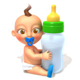 Baby Jake with baby bottle 3d illustration Royalty Free Stock Photo