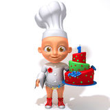 Baby Jake chef  3d illustration. Over white background Royalty Free Stock Photos