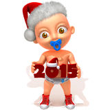 Baby Jake christmas 2015. Cute happy baby in red Christmas clothes on white stock illustration