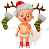 Baby Jake Christmas. Baby Jake with Christmas Reindeer Antlers royalty free illustration