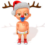 Baby Jake with Christmas Reindeer Antlers. 3d illustration   over white background Stock Image