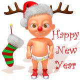 Baby Jake with Christmas Reindeer Antlers 3d illustration Royalty Free Stock Photography