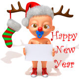 Baby Jake with Christmas Reindeer Antlers 3d illustration Stock Photography