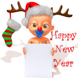 Baby Jake with Christmas Reindeer Antlers 3d illustration Stock Image