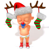 Baby Jake with Christmas Reindeer Antlers 3d illustration Royalty Free Stock Photos