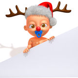 Baby Jake with Christmas Reindeer Antlers 3d illustration Stock Photo