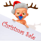 Baby Jake with Christmas Reindeer Antlers 3d illustration Stock Photos
