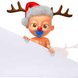 Baby Jake with Christmas Reindeer Antlers with white panel. 3d illustration isolated over white background stock illustration