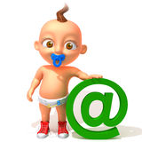 Baby Jake with email @ sign. 3d illustration   over white background Stock Image