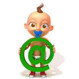 Baby Jake with email sign 3d illustration. Over white background Stock Image