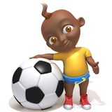 Baby Jake football player 3d illustration. Over white background Stock Photography