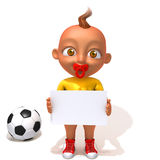 Baby Jake football player with white panel. 3d illustration   over white background Royalty Free Stock Photo