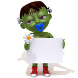 Baby Jake Frankenstein with white panel 3d illustration Royalty Free Stock Photo