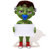 Baby Jake Frankenstein with white panel 3d illustration Stock Photos