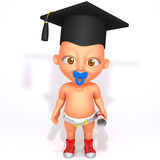 Baby Jake with Graduation Cap and Diploma 3d illustration. Over white background Royalty Free Stock Photo
